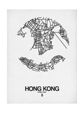 Hong Kong Street Map White Prints by  NaxArt