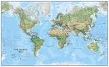 World Physical Megamap 1:20, Laminated Wall Map Zdjęcie