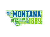Montana Word Cloud Map Posters by  NaxArt