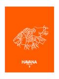 Havana Street Map Orange Poster by  NaxArt