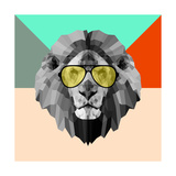 Party Lion in Glasses Lámina giclée prémium por Lisa Kroll