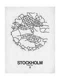 Stockholm Street Map White Premium Giclée-tryk af  NaxArt
