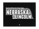 Nebraska Black and White Map Prints by  NaxArt