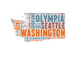 Washington Word Cloud Map Posters by  NaxArt