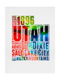Utah Watercolor Word Cloud Poster by  NaxArt