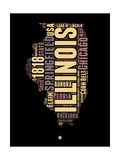 Illinois Word Cloud 1 Prints by  NaxArt