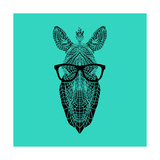 Zebra in Glasses Posters by Lisa Kroll