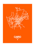 Cairo Street Map Orange Posters by  NaxArt