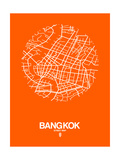 Bangkok Street Map Orange Art by  NaxArt