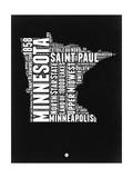Minnesota Black and White Map Art by  NaxArt