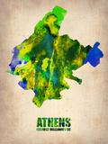 Athens Watercolor Poster Plastikskilte af NaxArt