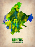 Athens Watercolor Poster Plastic Sign by  NaxArt