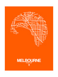 Melbourne Street Map Orange Prints by  NaxArt