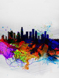 Los Angeles Watercolor Skyline 2 Plastic Sign by  NaxArt