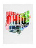 Ohio Watercolor Word Cloud Posters by  NaxArt