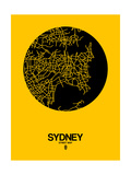 Sydney Street Map Yellow Prints by  NaxArt