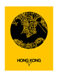 Hong Kong Street Map Yellow Print by  NaxArt