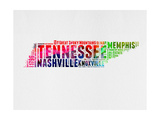 Tennessee Watercolor Word Cloud Posters by  NaxArt
