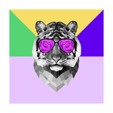 Party Tiger in Glasses Print by Lisa Kroll