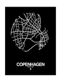 Copenhagen Street Map Black Prints by  NaxArt