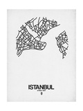 Istanbul Street Map White Prints by  NaxArt