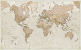 World Antique Megamap 1:20, Laminated Wall Map Poster
