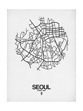 Seoul Street Map White Prints by  NaxArt