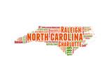 North Carolina Word Cloud Map Print by  NaxArt
