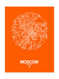 Moscow Street Map Orange Posters by  NaxArt