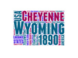 Wyoming Word Cloud Map Print by  NaxArt