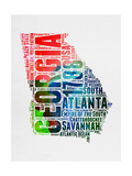 Georgia Watercolor Word Cloud Prints by  NaxArt