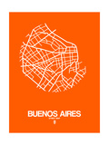 Buenos Aires Street Map Orange Posters by  NaxArt