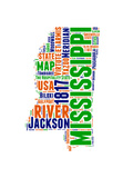Mississippi Word Cloud Map Prints by  NaxArt