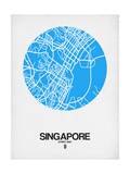 Singapore Street Map Blue Art by  NaxArt