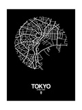 Tokyo Street Map Black Posters by  NaxArt