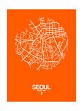 Seoul Street Map Orange Prints by  NaxArt