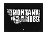 Montana Black and White Map Posters by  NaxArt