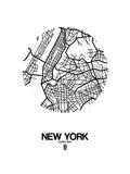 New York Street Map White Poster van  NaxArt