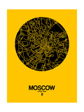 Moscow Street Map Yellow Prints by  NaxArt