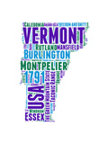 Vermont Word Cloud Map Prints by  NaxArt