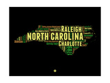 North Carolina Word Cloud 1 Print by  NaxArt