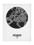 Athens Street Map Black on White Plakat af NaxArt