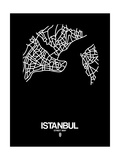 Istanbul Street Map Black Poster by  NaxArt