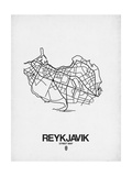 Reykjavik Street Map White Posters by  NaxArt
