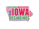 Iowa Word Cloud Map Prints by  NaxArt