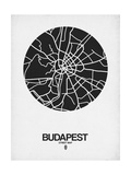 Budapest Street Map Black on White Prints by  NaxArt