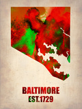 Baltimore Watercolor Map Plastic Sign by  NaxArt