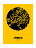 Athens Street Map Yellow Prints by  NaxArt