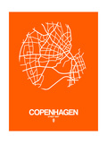 Copenhagen Street Map Orange Premium Giclée-tryk af  NaxArt