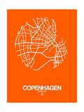 NaxArt - Copenhagen Street Map Orange - Poster